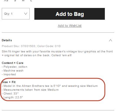 באתר Urban Outfitters מוצגים פרטים מלאים על מידותיה של הדוגמנית, שיסייעו בקבלת החלטה על בחירת מידה