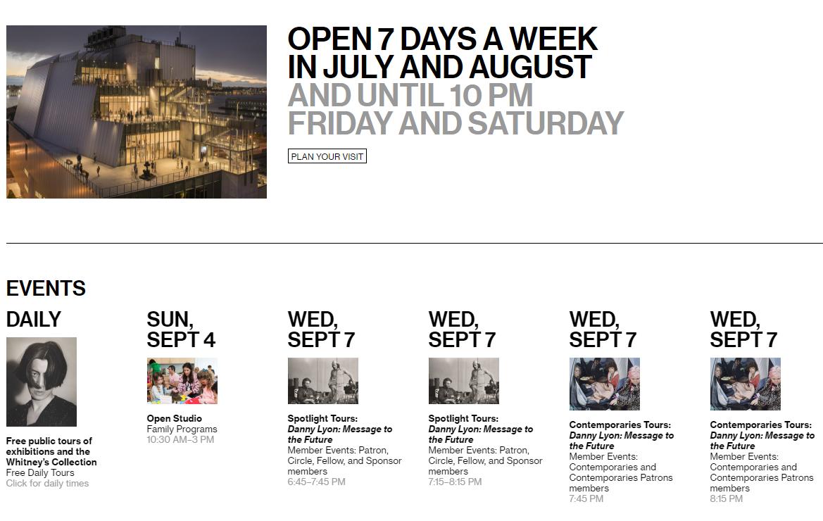 האתר של מוזיאון Whitney בניו יורק - ברור מה חשוב ממה